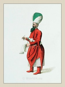 Janissary. Ottoman empire elite army infantry. Historical Turkish costumes.