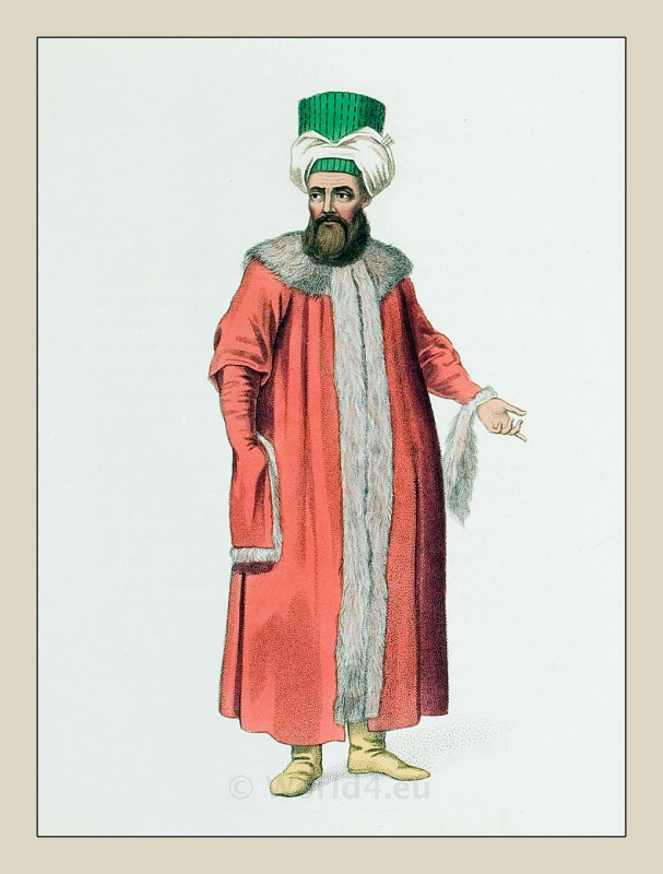 Ottoman man in a fur coat. Ottoman empire historical clothing