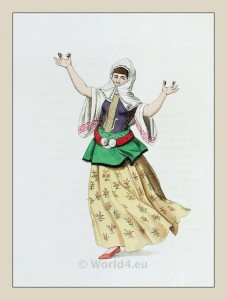 Muslim woman dancer. Turkish traditional clothing. Historical Ottoman empire costumes.