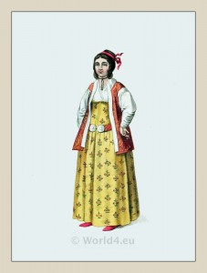 Pera. Turkish female clothing. Turkey traditional clothing. Historical Ottoman empire costumes.