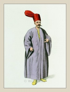 Bostandji Bachi. Ottoman empire. Sublime Gate. Historical Turkey costumes.