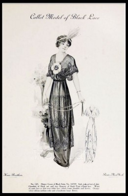 France Fin de siècle. Black Lace fashion. French haute couture gown. Belle Epoque costume by Couturier Callot Soeurs.