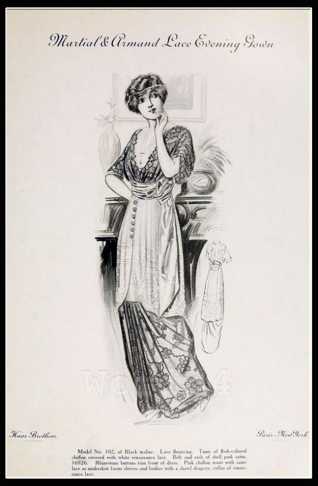 France Fin de siècle fashion. French haute couture gown. Belle Epoque costume by Couturier by Martial & Armand