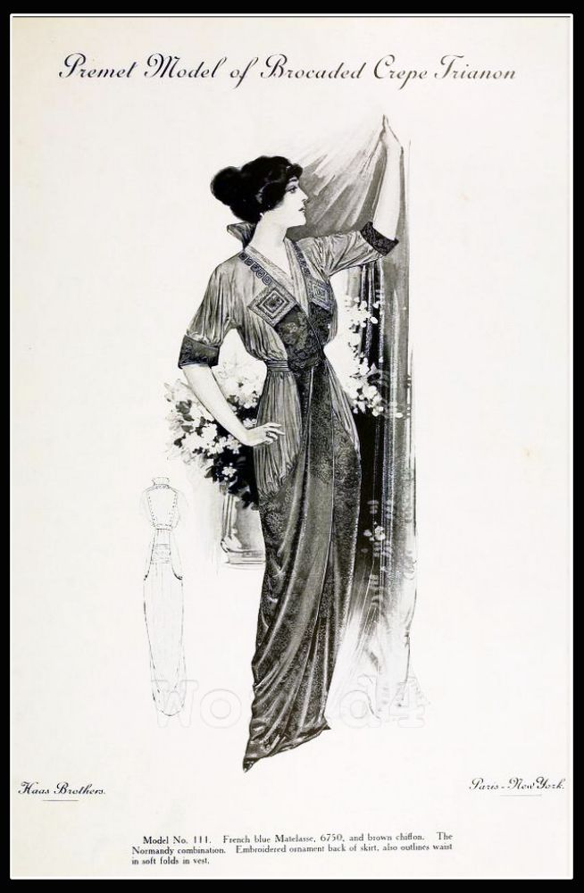France Fin de siècle fashion. French haute couture gown. Belle Epoque costume by Couturier Premet.