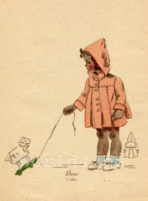 Girl in red hooded raincoat. German Children clothing. Kids vintage costumes. 1940s fashion.