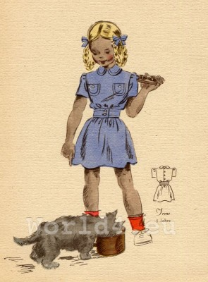 Girl in dress with sewn pockets. German Children clothing. Kids vintage costumes. 1940s fashion.