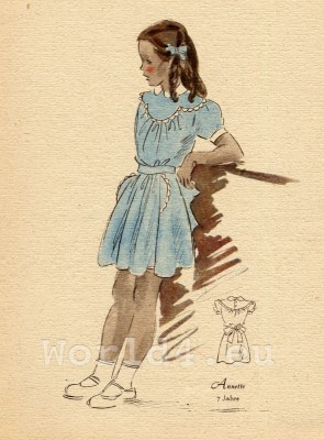 Girl in short summer dress. German Children clothing. Kids vintage costumes. 1940s fashion.