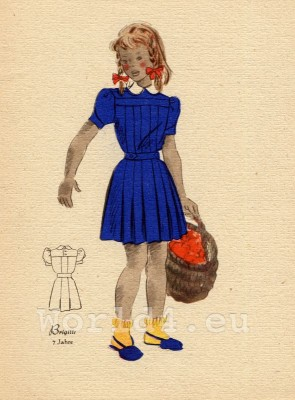 Girl in blue pleated skirt. German Children clothing. Kids vintage costumes. 1940s fashion.