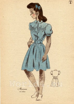 Girl in powder blue, knee-length dress. German Children clothing. Kids vintage costumes. 1940s fashion.