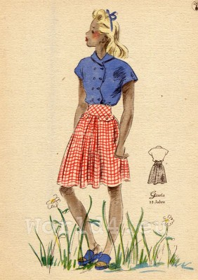 German Children clothing. Kids vintage costumes. 1940s fashion.