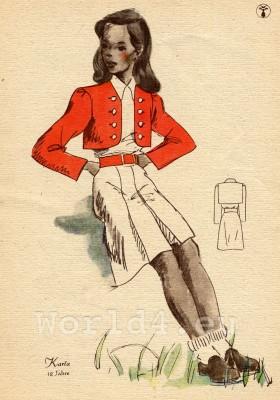 Bolero jacket. German Children clothing. Kids vintage costumes. 1940s fashion.
