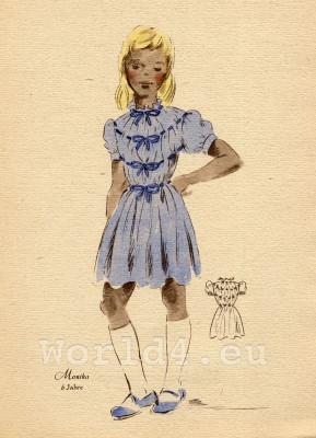 Blue summer dress with ribbons. German Children clothing. Kids vintage costumes. 1940s fashion.