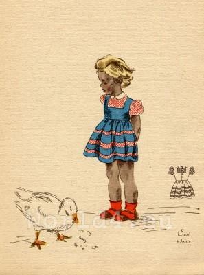 German Children Fclothing. Kids vintage costumes. 1940s fashion.
