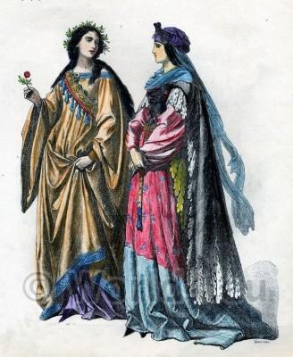 Renaissance Fashion Women`s Costume, German Nobility Dresses, Court Dress, 15th Century. Chemisse, Gamurra, Cotta, Cioppa,