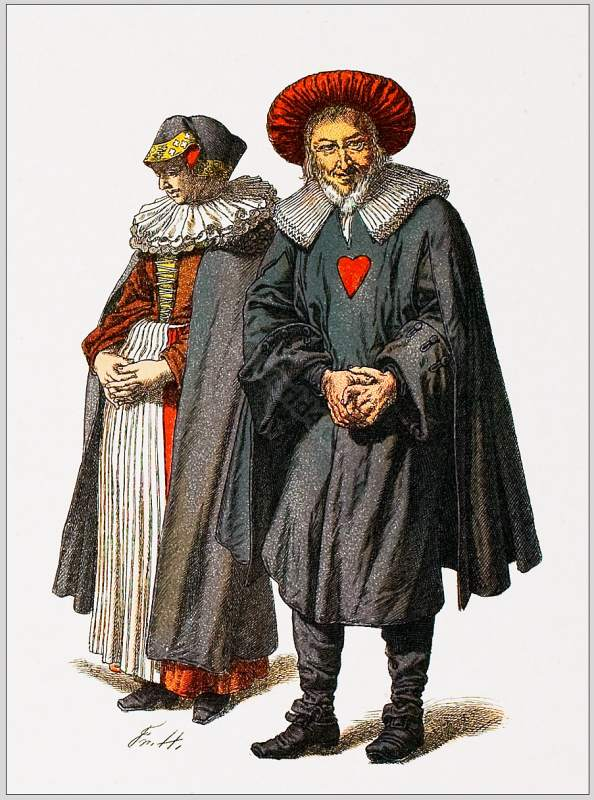 Jewish Costumes 1700. Tappest, Ephod, Baroque Period Germany, Jewish Women`s dress, Jewish Men`s Clothing