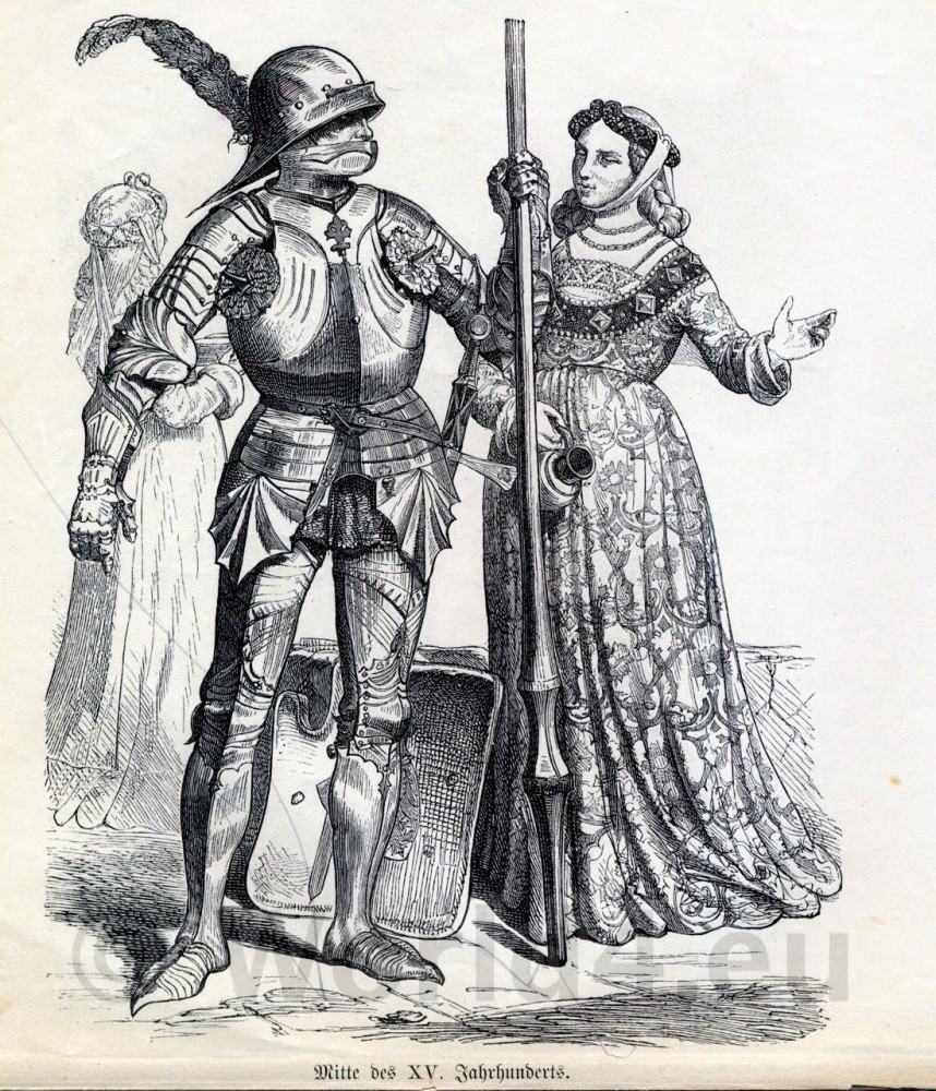 Middle Ages German Knight in Armor. Nobel Women Gothic costume and gowns. 15th Century clothing.