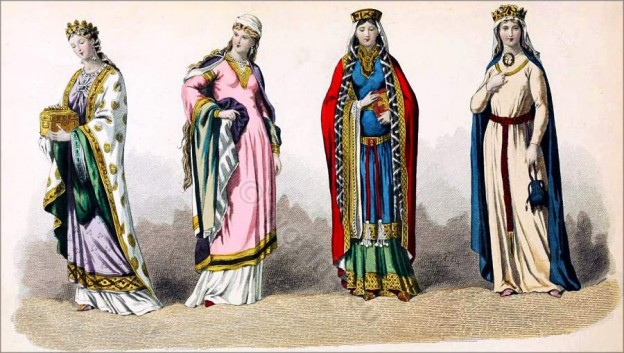 French queens. Middle Ages Costume history. 10th century fashion
