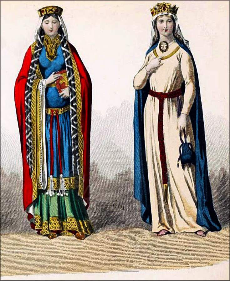queens, France, Middle Ages, costumes, fashion, history,