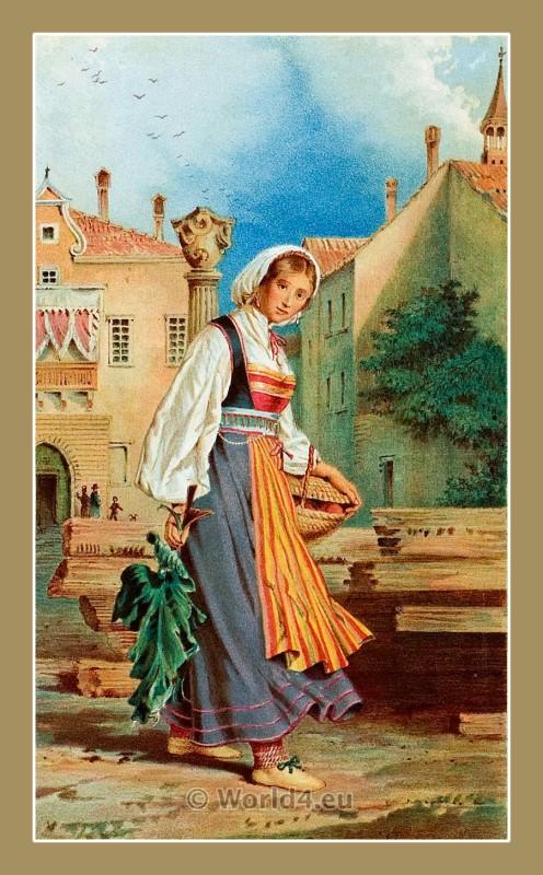 Rovinj Santa Eufemia, Croatia, traditional, national costumes, Balkans, Dalmatia, Serbian