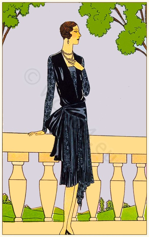 Couturier Maggy Rouff. Art deco costumes. Flapper fashion Model of Madame. French 1920s clothing.