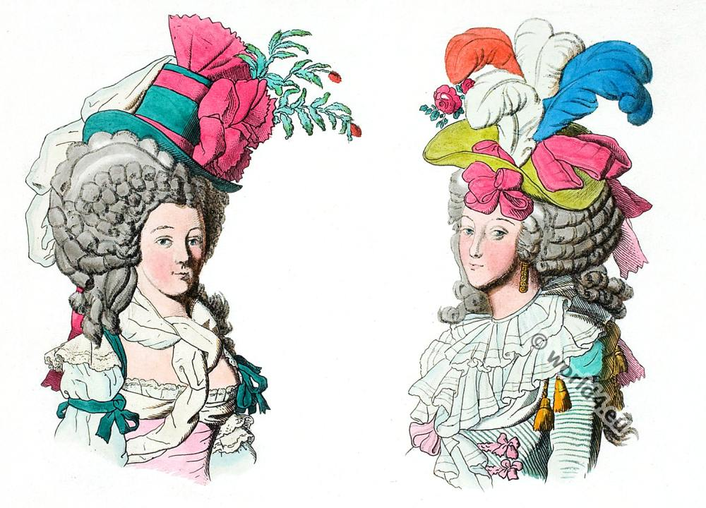 Fashion under the French Revolution. Coiffure dite sans redoute. Coiffure dit à la nation.