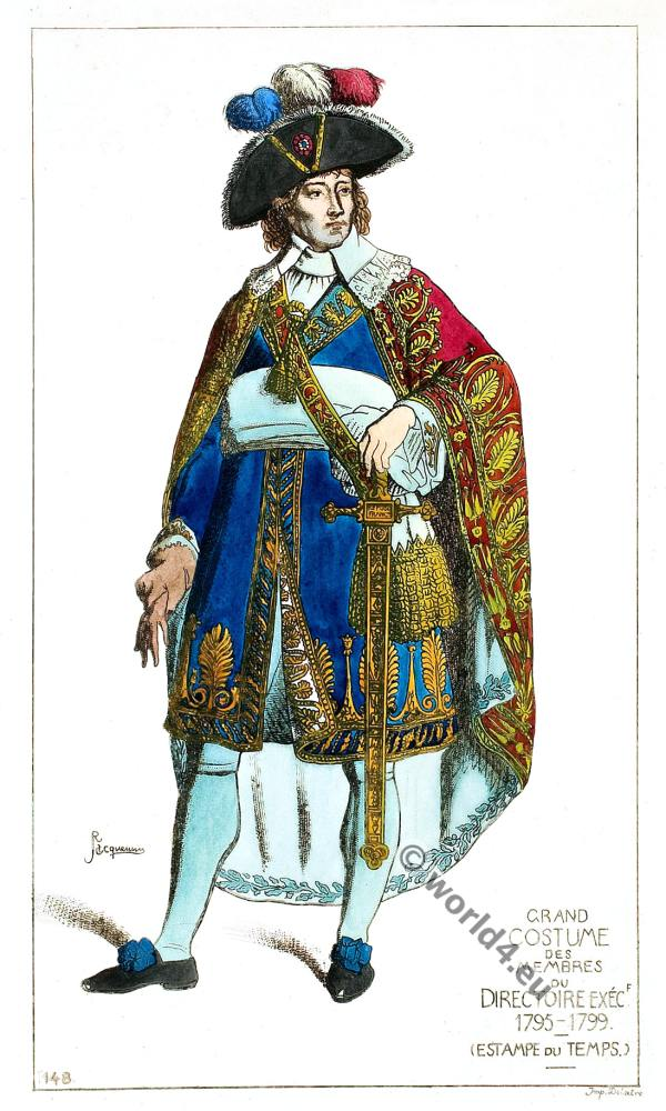 Grande costume of members of the Executive Directoire Board. French revolution costumes.