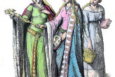 Münchener Bilderbogen, Noble, German, women, citizen, fashion, middle ages,