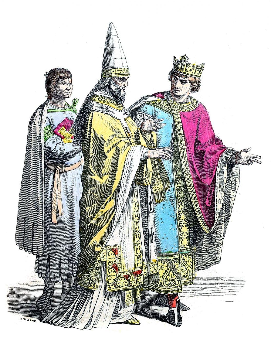 Münchener Bilderbogen, Servant, Roman pope, German king, middle ages, fashion, costumes