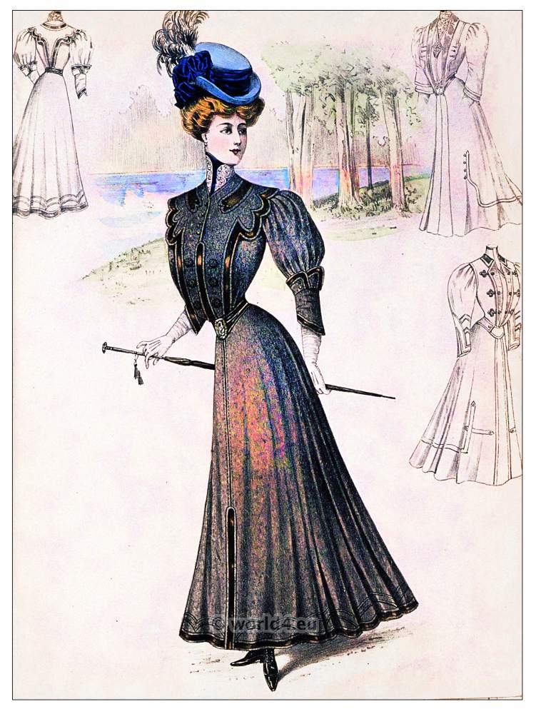 Winter toilet, Belle Epoque, costumes, fashion, Sans-Ventre-Corset,