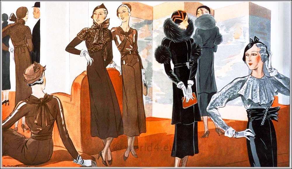 1940s, vintage, fashion, art deco, Costumes, Martial et Armand, Lucile Paray,