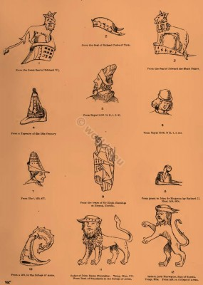 Medieval clothing. ABACOT, ABOCOCKE, ABOCOCKED, ABOCOCKET, BYCOCKET. A cyclopedia of costume. Hat of Robin Hood.