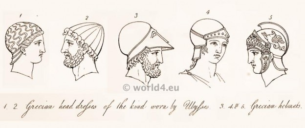 Ancient Grecian head dresses of the kind worn by Ulysses and Grecian helmets of classical antique.