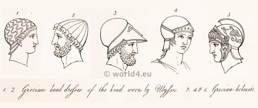 Ancient, Greece, Greek headdresses, helmets, Warrior,