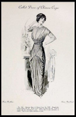 Chinese Crepe. France Fin de siècle fashion. French haute couture gown. Belle Epoque cocktail dress