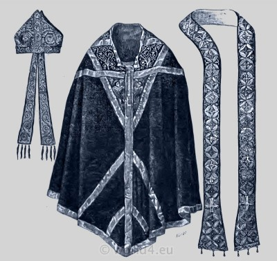 Chasuble, Mitre, and Stole. Thomas Becket. Bishop Medieval Ecclesiastical Costume.