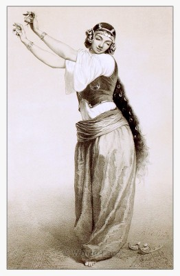 Arabian belly dance costume. Traditional egyptian woman dress. Courtesan clothing middle east.