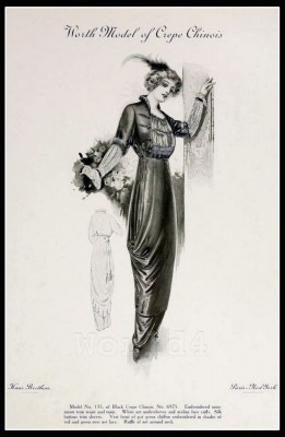France Fin de siècle fashion. French haute couture gown. Belle Epoque cocktail dress by Charles Frederick Worth.