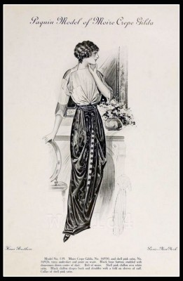 France Fin de siècle fashion. French haute couture gown. Belle Epoque cocktail dress by couturier Jeanne Paquin.
