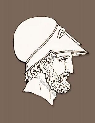 Ancient Grecian headdresses and Grecian helmets of the classical antique.