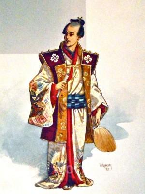 Antique silk kimono. Japanese Design. Japan Samurai hairstyle and clothing.