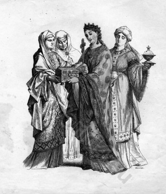 Byzantine court dresses. Nobility costumes,Middle ages clothing