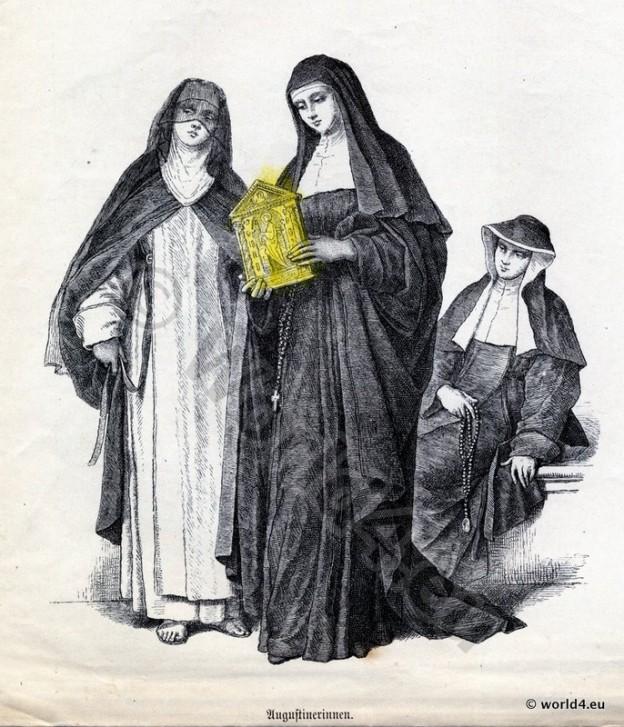 Augustinians Nuns, habit, costumes, Monastic