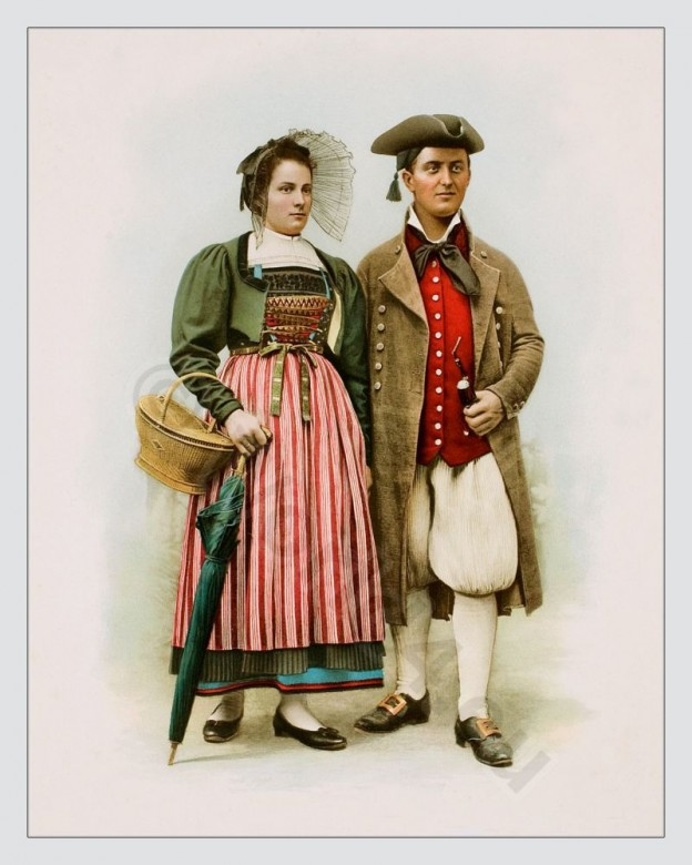 Traditional Switzerland national costumes. Swiss folk dresses. Clothing from the Canton of Zurich.