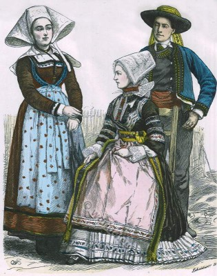 Traditional Brittany costumes, historical costume, fashion history