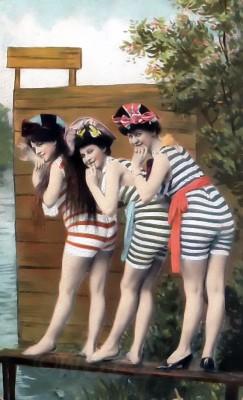 French Vintage beach fashion. Boho style fashion. Pin-up Girl swimwear.