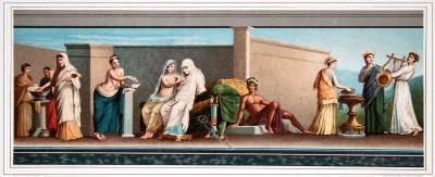 Greece, Greek, Antique, Fresco, marriage, Peleus,  Thetis