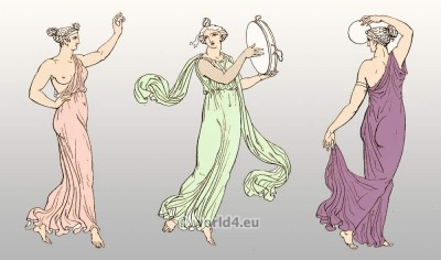 Arcadia, Women wore the Greek chiton. Clothing in ancient Greece. Grecian Females dancing. Ancient Greek costume history.