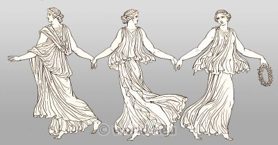 Dancing females in chiton. Ancient Greece Costumes.