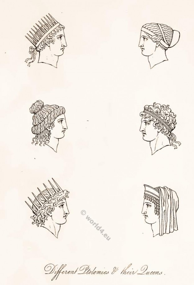 Ancient Greece headdresses and crowns. Egyptian pharaohs costumes history. Classical Antiques Greek costumes