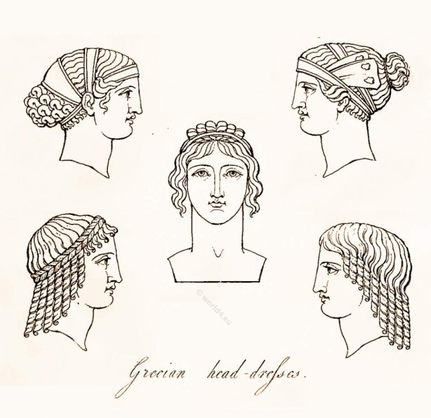 Ancient Grecian head-dresses, antique creek women`s hairstyle and head-dress. Grecian Ladies Head Dress